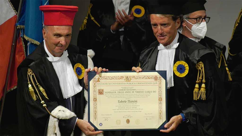 A Roberto Mancini la laurea magistrale honoris causa in Scienze dello Sport